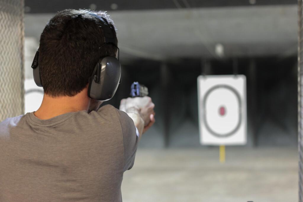 Man shooting target